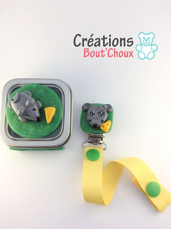 Ensemble cadeau bébé enfant souris attache par CreationsBoutChoux1