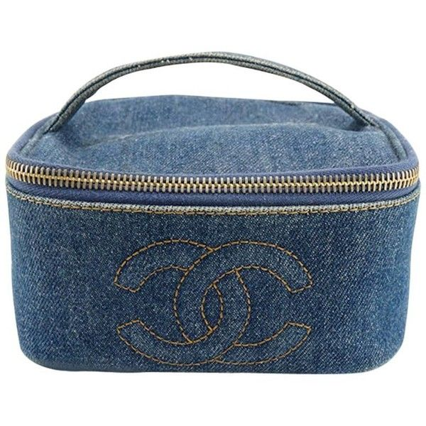 Preowned Chanel Denim Square Vanity Bag (21,895 EGP) ❤ liked on Polyvore featuring beauty products, beauty accessories, bags & cases, cosmetic bags, grey, dop kit, make up purse, chanel makeup bag, toiletry kits and wash bag