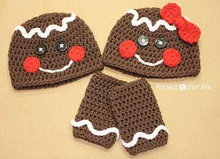 Free Crochet Gingerbread Man Hat and Leggings Pattern