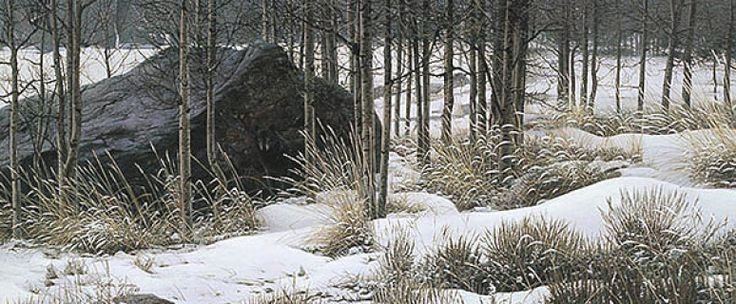 "Limited Edition Print  Artist Proof Edition (50) Image Size: 35"" × 15""  ""The black wolf in front of this rock is something you don't see right away. When you finally notice it, you realize it has been watching you all along."" -Stephen Lyman"