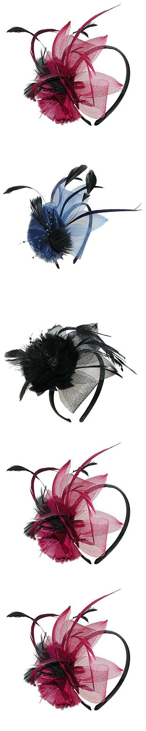Jeanne Simmons Women's Feather Sinamay Bow Fascinator Headband, Burgundy