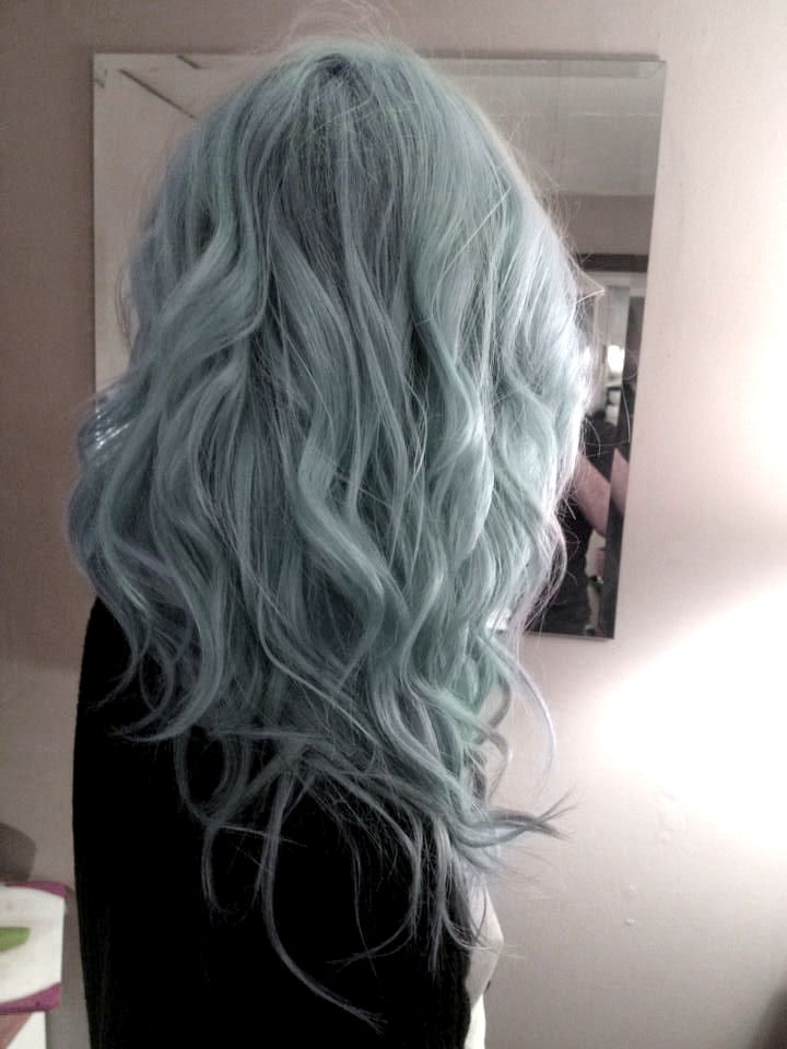 curly pastel blue hair | I wouldn't go this shade but I do like it!