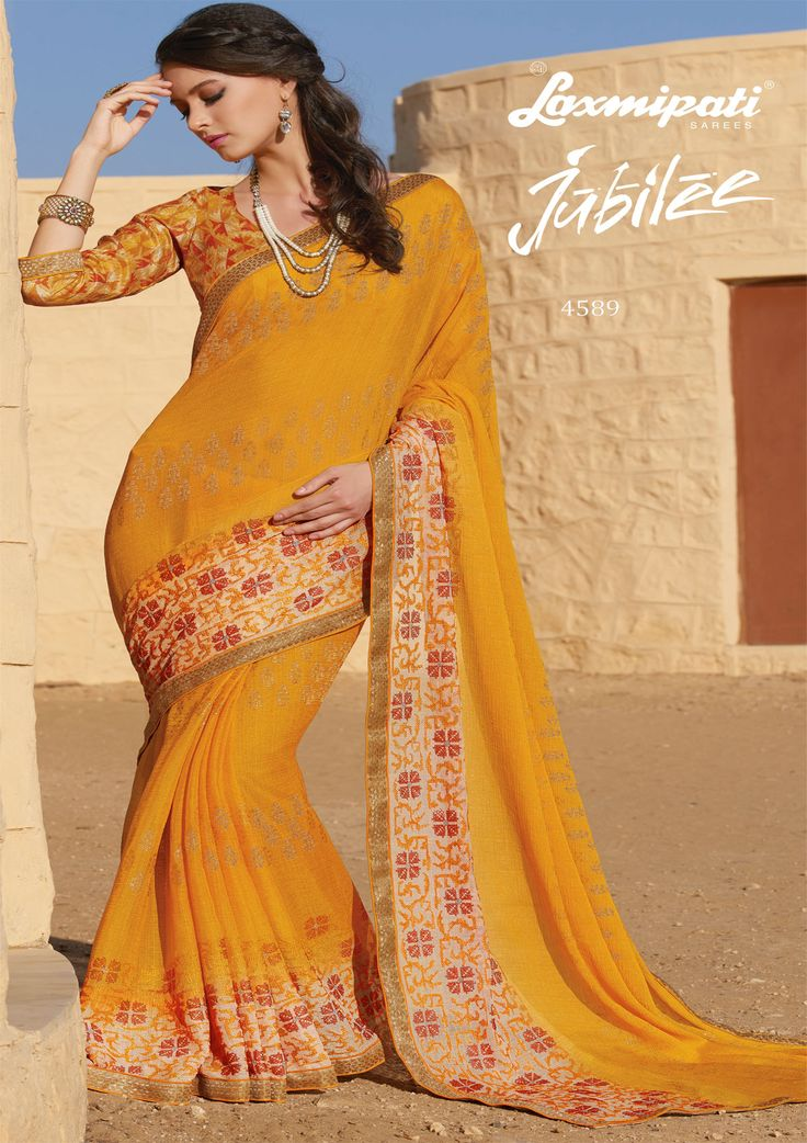 Shop #online this remarkable yellow colored #chiffon #embroiderysaree along with zari lace border with multi digital rawsilk blosue by #Laxmipatisarees. Catalogue- Jubilee, Design Number: 4589, Price: ₹ 2750.00 #Jubilee0417 #Cashondelivery #Orderonline #Freeshipping #Nayazamana