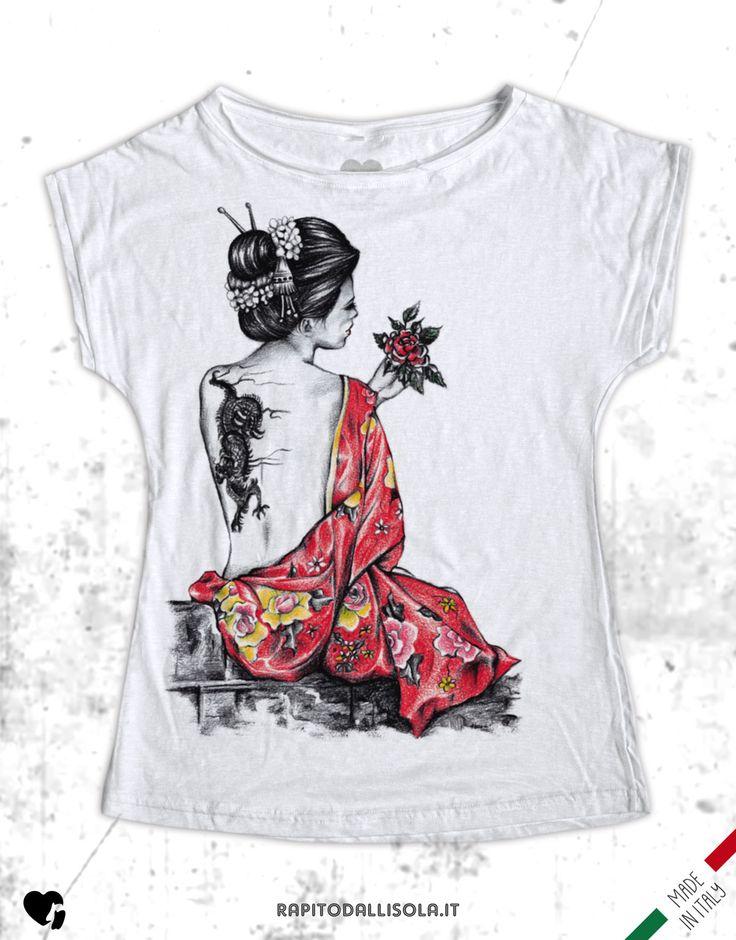 Jap Art - Geisha tattoo. T-shirt in cotone fiammato. 100% made in Italy www.rapitodallisola.it