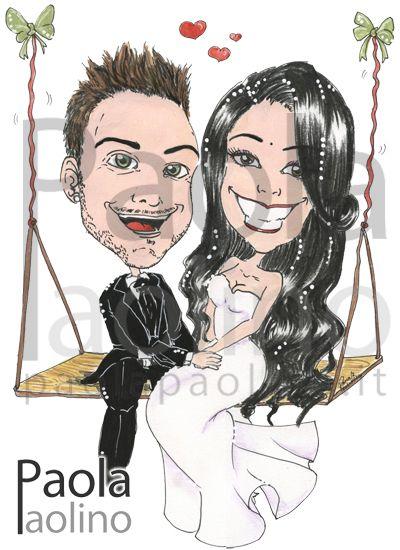Una coppia di sposi innamorati su un'altalena. www.paolapaolino.it #caricaturista #ritrattista #illustrazione #arte #matrimonio
