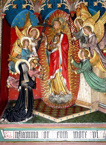 Marguerite-Marie Alacoque. - Het Heilig Hart verschijnt aan Marguerite-Marie. ca 1890(?), houtsculptuur. België, Aalst, St-Martinus.