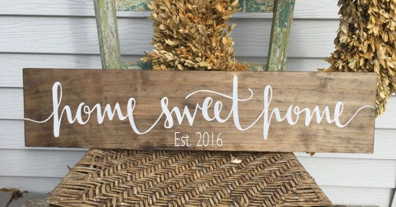A beautiful stained wood sign is made from pine wood. This rustic sign adds…