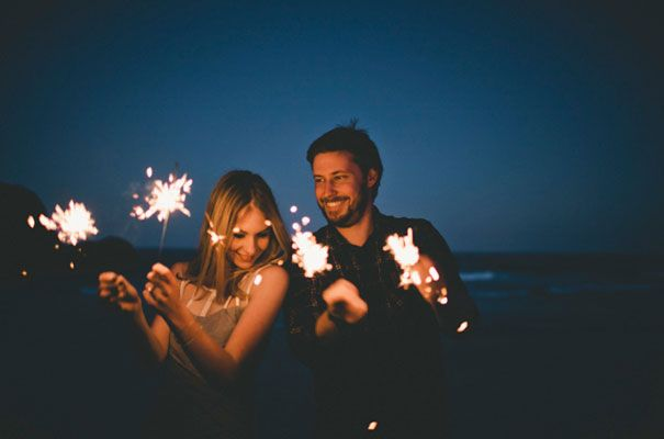 Sparklers on the beach at sunset would make glorious photos - and a great way to have fun with all the kids that'll be at our B+T party!
