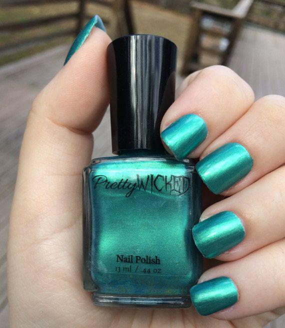 Greenish Blue Nail polish Green Nail Polish by PrettyWickedPolish