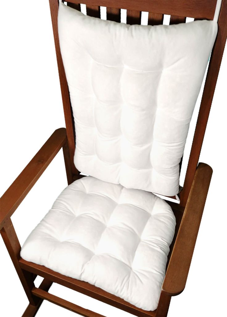 Cotton Duck White Rocking Chair Cushions - Latex Foam Fill - Reversible