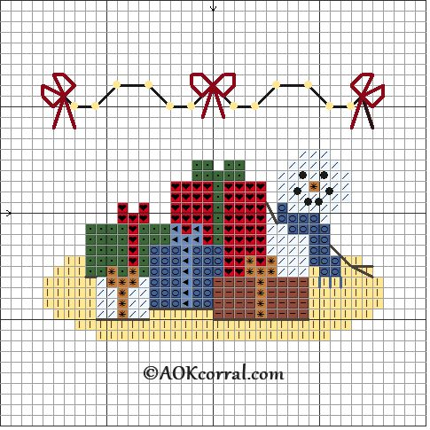 Cross Stitch Snowman with Christmas Gifts