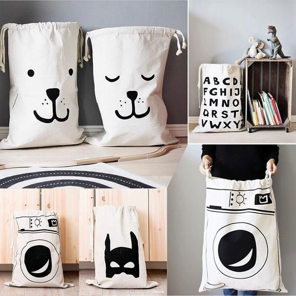 Cute storage solution for toys  Heavy duty canvas bag, 40*55cm   Designs: Sleepy bear Smile bear Washing machine  Superhero  Alohabet   Please note: There is currently a 2-8 week turnaround time on orders