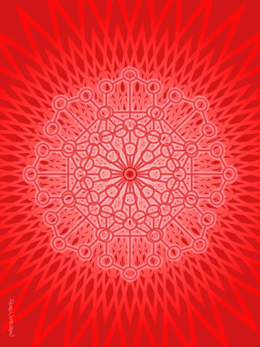 """°Root, Muladhara Chakra - Sacred Geometry Art by PearlWhitecrow. I Am Power: """"I am a powerful being & I am peaceful, protected & secure"""" - Please consider enjoying some flavorful Peruvian Chocolate this holiday season. Organic and fair trade certified, it's made where the cacao is grown providing fair paying wages to women. Varieties include: Quinoa, Amaranth, Coconut, Nibs, Coffee, and flavorful dark chocolate. Available on Amazon! http://www.amazon.com/gp/product/B00725K254"""