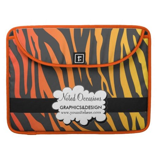 Orange And White MacBook Pro Sleeve - This sleeve features tiger stripes with a fading dark orange to yellow pattern with a black ribbon running across it. Place your name and number in case it gets lost or promote your company details wherever you go to make it your own!