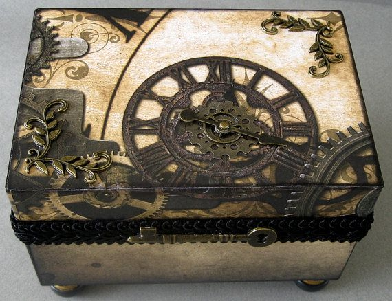 Steampunk Clocks Decorative Box by funkyart08 on Etsy, $48.00