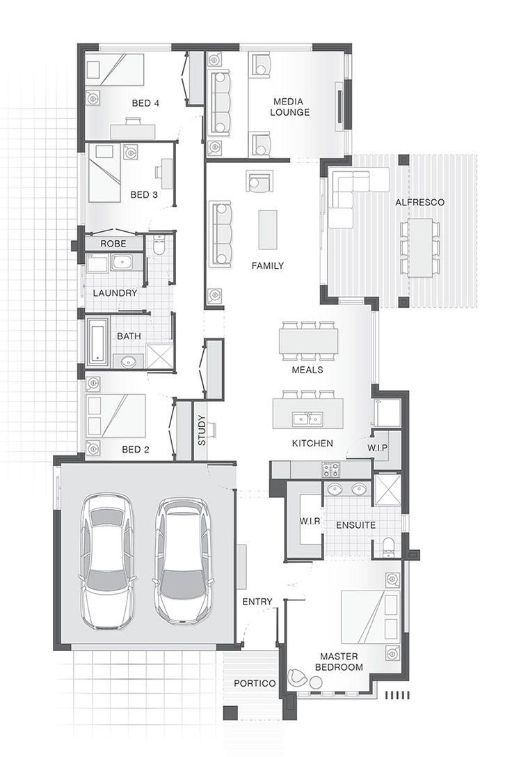 The AMITY single storey home design. 4 Bedrooms, 2.5 Bathrooms, 2 Car Garage.
