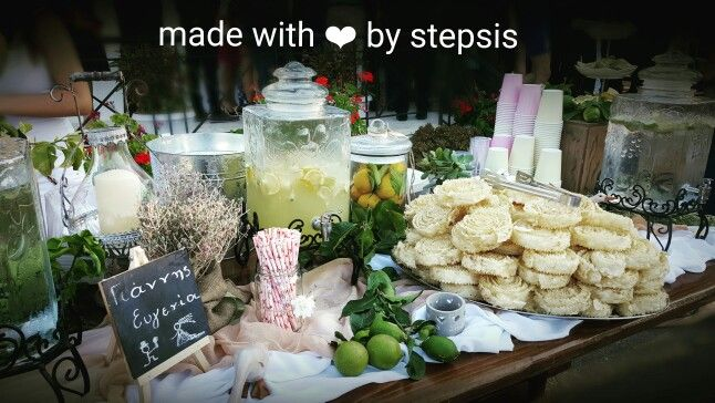 Welcome table made by stepsis.gr Wedding in Crete Homemade lemonade Traditional sweets