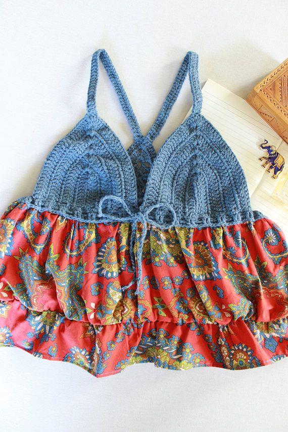 boho chic blauwe hippie top gehaakte tuniek kleurrijke gypsy