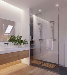 Elegante bagno bianco stile scandinavo con pavimento e mobili in legno chiaro