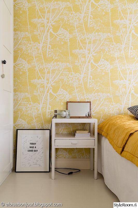 makuuhuone,värikäs,keltainen,tapetti,raikas