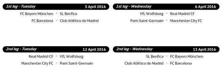 Confirmed quarter-final schedule UEFA Champions League: