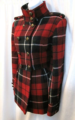 River Island Tartan Military Coat Vintage Victorian Russian Skater Plaid Beauty