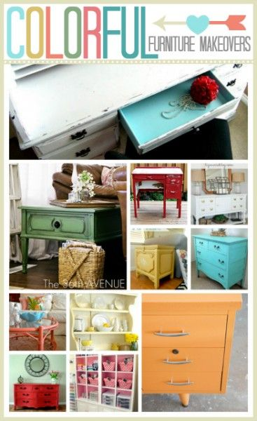Colorful Furniture Makeovers... These are simply ADORABLE! Pin now and paint later ;)