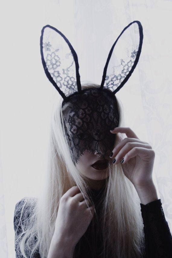 Handmade black lace mask tall bunny ears mask headband by AGMU