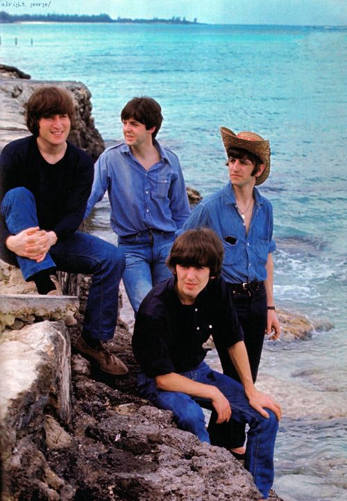 The Beatles in the Bahamas filming the Movie Help.