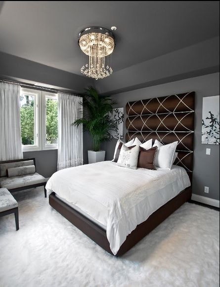 Love how they mix grey w dark wood furniture - I absolutely love the headboard - think I'll make it for my new house.