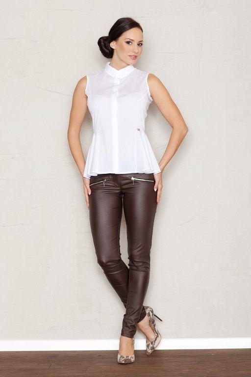 Elegant ladies sleeveless shirt in a shade of white