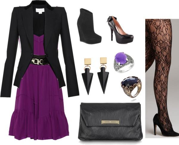 """purple dress black blazer"" by graceneedstogetdressed on Polyvore"