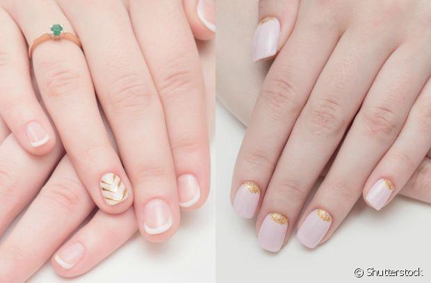Nail art com esmalte dourado para o Réveillon: com efeito de meia-lua ou em estilo tribal na filha única? Vote!