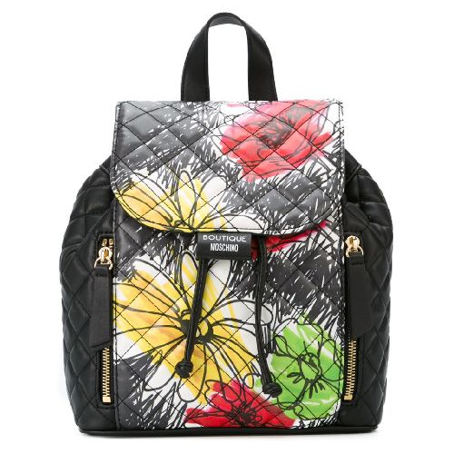Fresh From Boutique Moschino! Black calf leather floral print backpack from Boutique Moschino. Size: OS. Color: Black. Gender: Female. Material: Calf Leather.