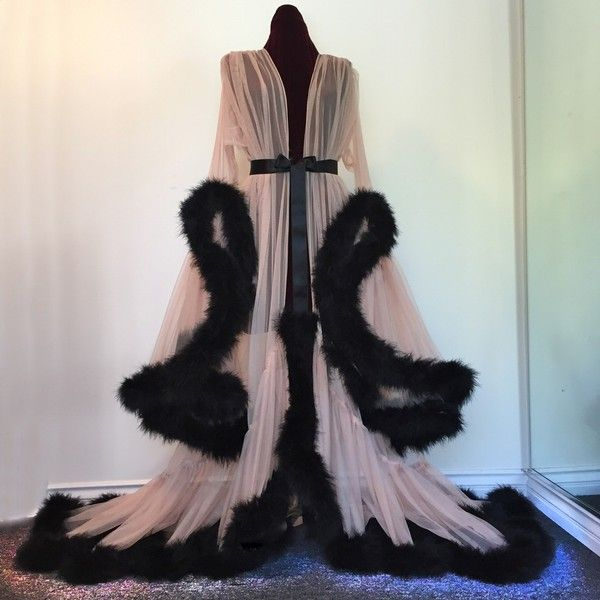 "Black Tan ""Cassandra"" Extravagant Dressing Gown ❤ liked on Polyvore featuring intimates, robes, black robe, sheer robe and sheer black robe"
