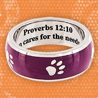 "Proverbs 12:10 Purple Paw Ring at The Animal Rescue Site. $19.99  ""A righteous man cares for the needs of his animals"". LOVE IT!!!!"