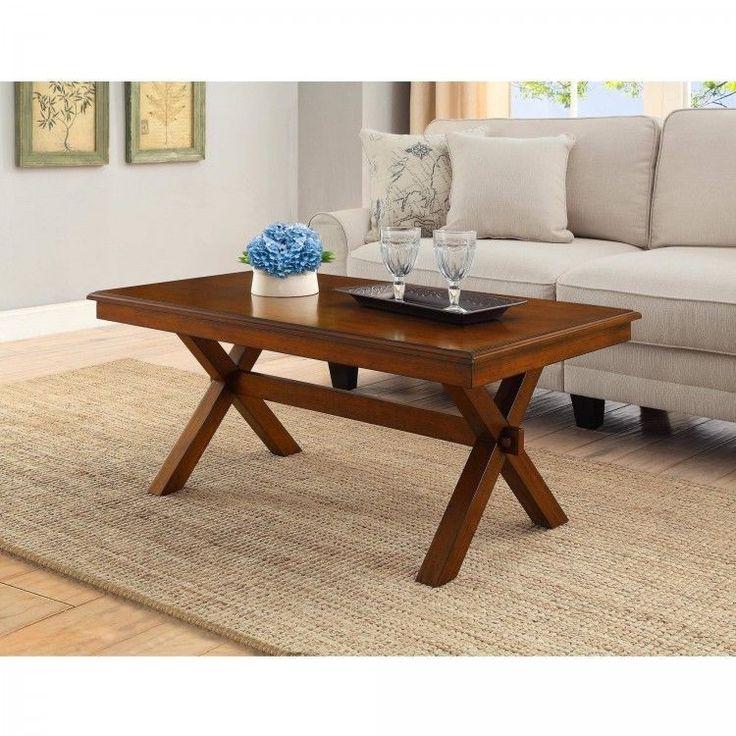 Wood Modern Coffee Table Brown Crossing Leg Side Rectangle Living Room Furniture #PerfectHomeSavings #Modern