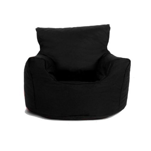 Childrens Black Small Cotton Bean Bag Chair Seat Ready Filled BNWT Free PP