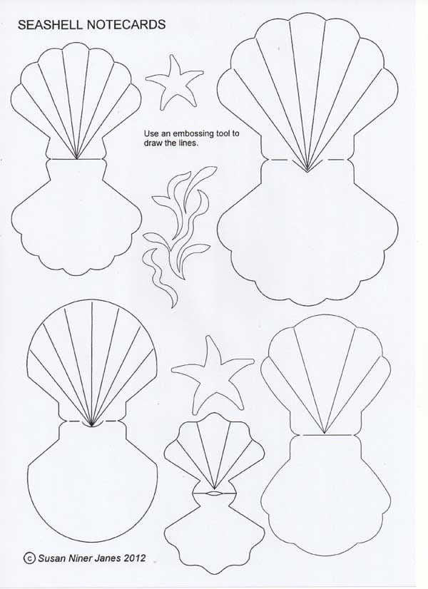 Fold-over seashells – fun as cards or gift tags. …