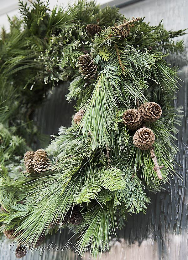 Make this luscious Christmas wreath the easy and fast way by using a ready-made base. See http://www.songbirdblog.com
