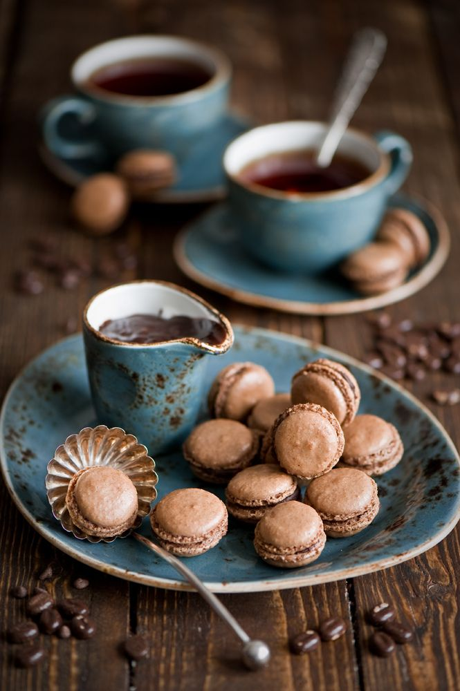 Breakfast with tea and chocolate macarons, by The Little Squirrel