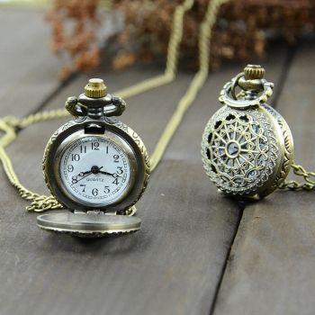 Старинные бронзовые стимпанк кварц ожерелье кулон цепь часы Карманные часы паук веб полые
