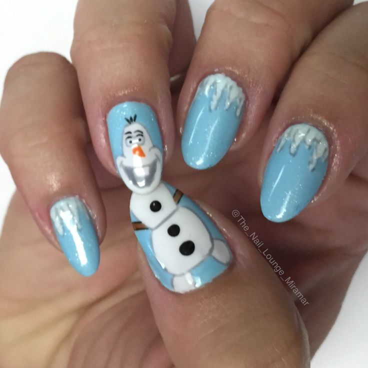 Disney Frozen Olaf nail art design