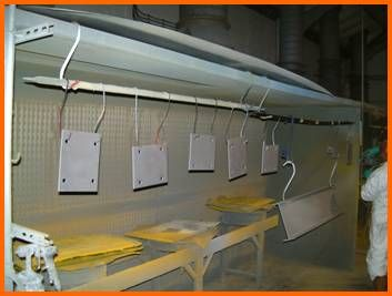 Powder coating is the process of electrostatically charging a metal product then applying a dry powder finish which is attracted by the electrical charge, and curing in an oven allowing the powder to liquidate and form a strong bond.  Powder coating is a cost effective way to provide an extremely high level of protection against environmental factors. http://www.mjmfabrication.com/powder-coating/