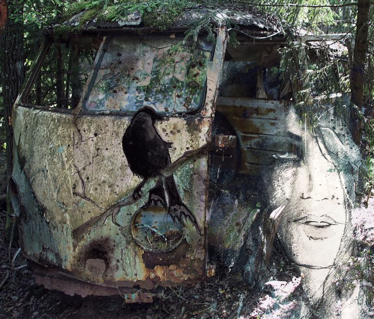 Old car in the woods,put together with two of my paintings :)