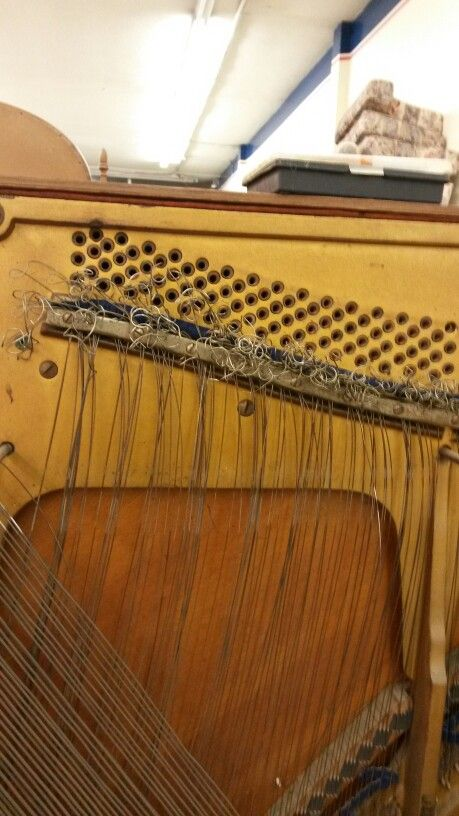 The tension on the piano strings would be between 15- 20 tonnes. Had to unscrew each one ever so slightly just to start to release the tension.