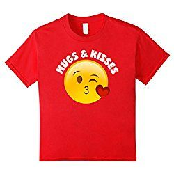 Kids Emoji Valentine's Day Shirt Hugs And Kisses Heart Kiss 10 Red