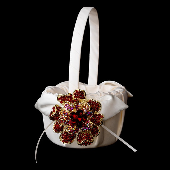 Flower Girl Basket with Gold Red Crystal & by MoonlitBridals, $122.99: Blossoms Brooches, Flowers Girls Baskets, Crystals Rhinestones, Floral Brooches, Rhinestones Floral, Exquisite Gold, Floral Dreams, Red Crystals, Gold Red