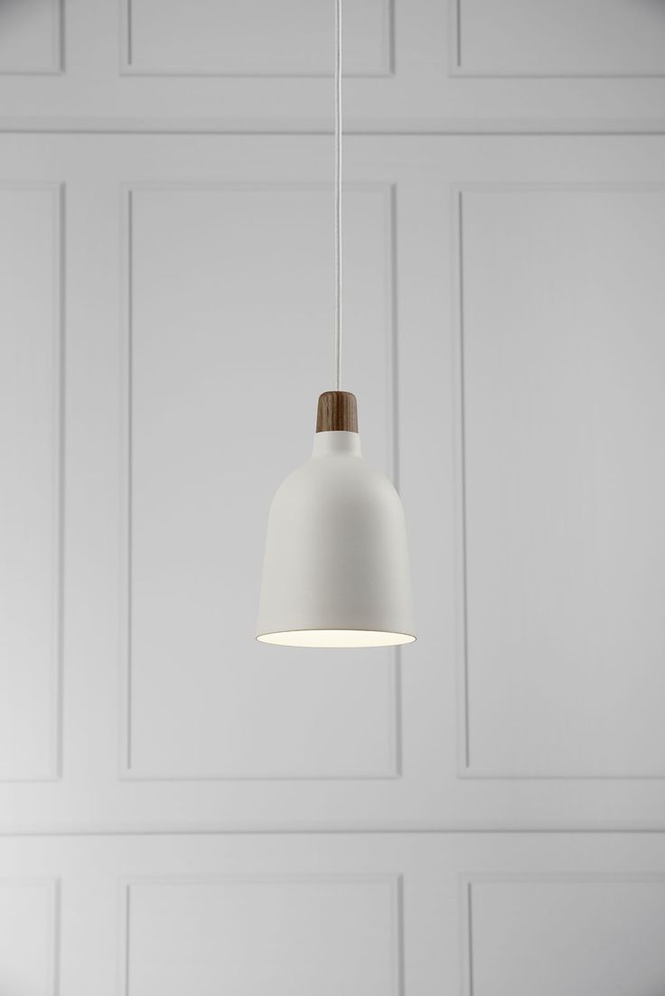 This Karma 14 ceiling pendant light comes complete in a smooth white finish and oiled walnut finial #home #style #pendants
