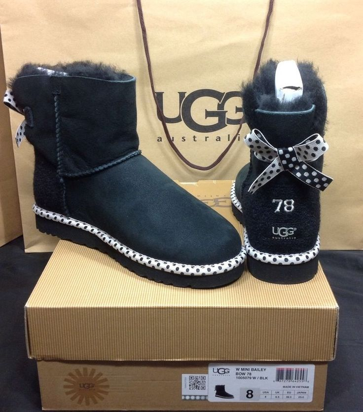 UGG AUSTRALIA MINI BAILEY BOW 78 COLLECTION SIZE 8 US BLK ...